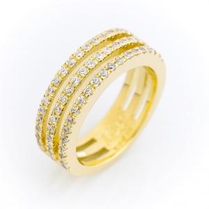 Zlatni prsten sa kamenjem u tri reda