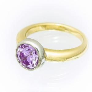 Ametist prsten od žutog i belog zlata