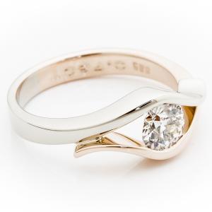 Unikatni verenički prsten od belog i roze zlata