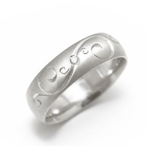 Prsten od belog zlata sa ručnom gravurom