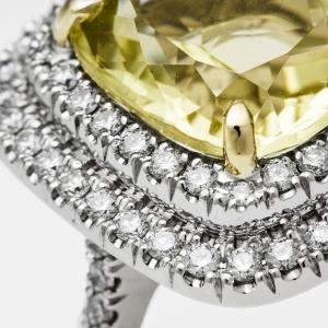 Luxuzni prsten od belog zlata sa citronom i brilijantima