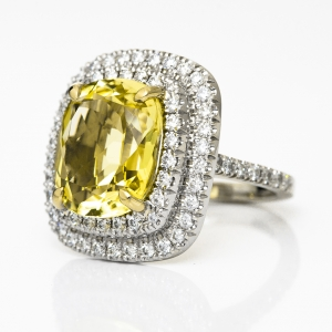 Luxus fehérarany gyűrű citrinnel és gyémántokkal