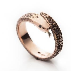 Zmija prsten od roze zlata