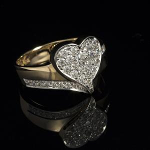 Prsten u obliku srca od žutog zlata
