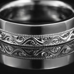 Fehérarany gyűrű kézi véséssel