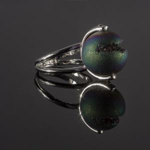 Prsten od belog zlata sa druzy agate kamenom