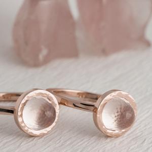 Prstenje od rose zlata sa roze kvarc kristalima