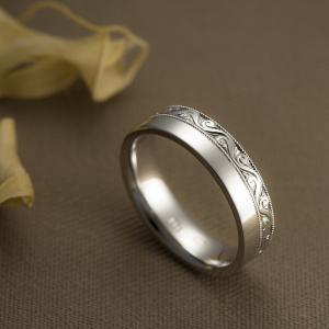 Kézzel vésett fehérarany gyűrű