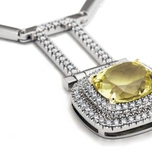 Luxus nyakék citrinnel és gyémántokkal
