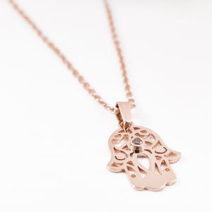 Rose arany medál természetes barnás gyémántokkal díszítve